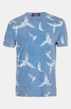 Topman Allover Bird Print T-Shirt available at #Nordstrom