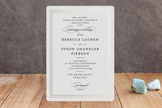 """""""Eloquence"""" - Classical Foil-pressed Wedding Invitations in Gold by Kimberly FitzSimons."""
