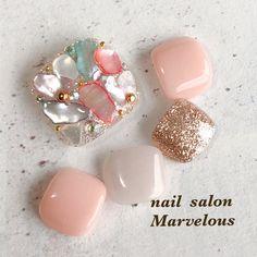 Luv Nails, Cute Toe Nails, Toe Nail Art, Swag Nails, Korean Nail Art, Korean Nails, Ugly Toenails, Japanese Nail Design, Fingernails Painted