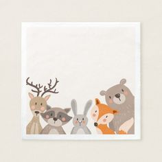 Woodland Paper Napkin Animals Forest Bear Fox This paper napkins are a great addition to your party! Woodland theme perfect for a baby shower, birthday or any other party. Baby Shower Napkins, Party Napkins, Baby Shower Favors, Woodland Theme, Woodland Baby, Woodland Animals, Animal Birthday, Baby Decor, Clipart