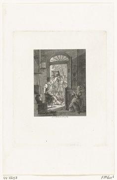 Johannes Christiaan Bendorp | Huibert Willemszoon van de Eijcken, de heldhaftige smid van Naarden, 1572, Johannes Christiaan Bendorp, 1825 - 1827 | Huibert Willemszoon van de Eijcken, de heldhaftige smid van Naarden, verdedigt met zwaard en driepoot zijn woning tegen de Spanjaarden, 30 november 1572. Rechts zijn knielend biddende dochter.