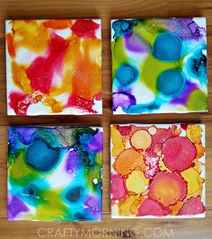 Alcohol ink tile coasters craft for kids to make! These are great gifts too