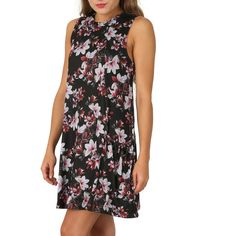 A sleeveless mini dress with a bold floral print and high neckline. The dress has a fun look courtesy of a dropped waistline and frilled skirt. Zip fastening. Length 83cm