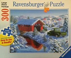 RAVENSBURGER Jigsaw Puzzle SNOWY BRIDGE Winter Scene 300 Extra Large Pieces HTF #Ravensburger