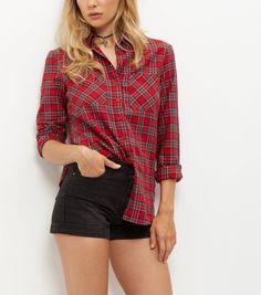 Tall Red Tartan Check Long Sleeve Shirt   New Look