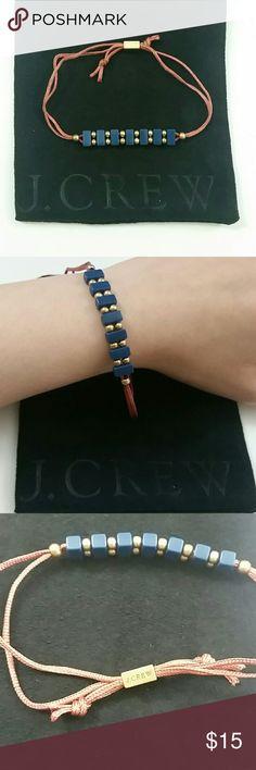 J crew bracelet Blue gold rose color bracelet from J crew. Adjustable. Comes with dust bag. J. Crew Jewelry Bracelets
