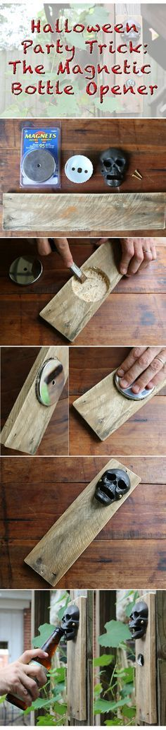 Cool ManCaves - This isn't your typical bottle opener — it's got a hidden secret. It's magnetic for catching bottle caps. Perfect for Halloween parties. Your guests will LOVE this! Halloween Parties, Holidays Halloween, Halloween Crafts, Halloween Decorations, Halloween Graveyard, Magnetic Bottle Opener, Party Hacks, Party Ideas, Bottle Caps