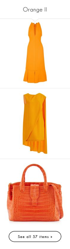 """Orange II"" by jckyleeah ❤ liked on Polyvore featuring orange, OrangeBag, orangedress, OrangeShoes, dresses, day dresses, saffron, crepe dress, tangerine dress and v neck open back dress"