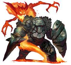 Earth elemental & Fire elemental, Victor Perez Corbella on ArtStation at https://www.artstation.com/artwork/8oGLw
