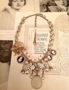 Vintage Bauble Rhinestone Statement Necklace $25
