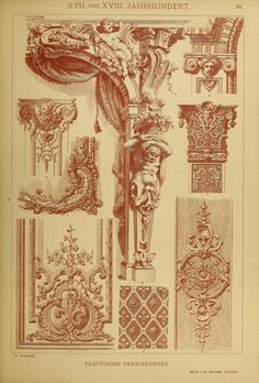 illustrations of architectural elements from the German Baroque and Rococo periods - Der Ornamentenschatz; ein Musterbuch stilvoller...