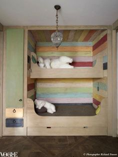 Bunk bed + painted wood nook great for a small to med. room for kids middle of the room for story and play time.