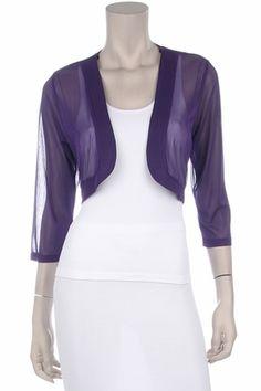 Purple Sheer Bolero Chiffon 3/4 Length Purple Chiffon Bolero Jacket $29.99