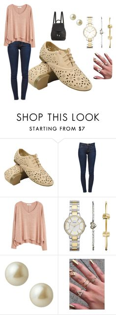 """Untitled #255"" by sophiamsceo ❤ liked on Polyvore featuring mode, Frame Denim, MANGO, FOSSIL, Carolee en rag & bone"