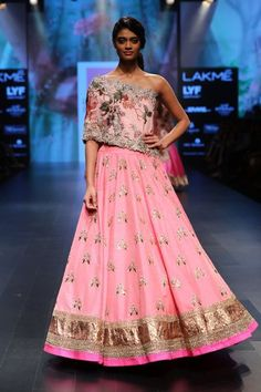 Love this pink Anushree Reddy cape style lehenga for the sister of the bride. #frugal2fab