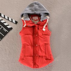 Women Hooded Down Vest   Removable Hood   Cotton Wool Collar