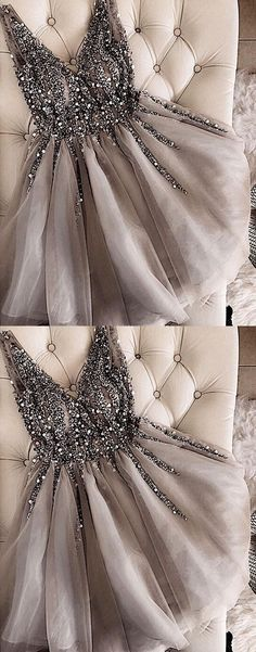 Gray V-Neck Beaded Tulle Homecoming Dress,Short A-Line Prom Dress M3861