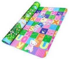 Double-side Waterproof Baby Play Mat Soft Environment-friendly Toddler Play Mat 200CM x 180CM x 0.5CM(Bear + Giraffe)