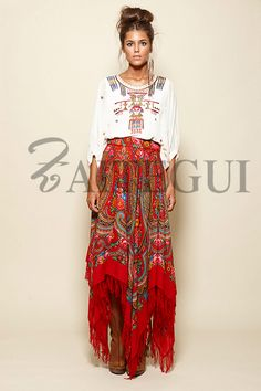 Asymmetric red skirt with russian print Gypsy Style, Hippie Style, Bohemian Style, Boho Chic, Boho Fashion, Fashion Outfits, Womens Fashion, Ropa Shabby Chic, Boho Inspiration