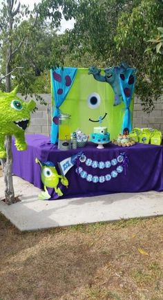 Monsters inc backdrop for birthday boy party. Monsters inc backdrop for birthday boy party. Monster University Birthday, Monster 1st Birthdays, Monster Inc Party, Monster Birthday Parties, Birthday Ideas, Cake Birthday, Birthday Wishes, Monsters Inc Baby Shower, Baby Boy First Birthday