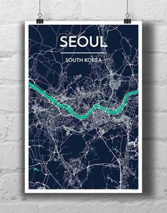 Seoul City Map Kirigami, Seoul Map, City Map Poster, Poster Prints, Art Prints, Posters, Map Design, City Maps, Map Art