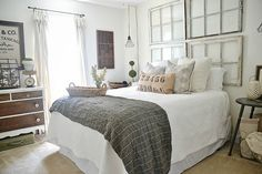 Love the reclaimed windows as a combination of artwork and a headboard. Final 'NC Home' Tour - Middle Guest Bedroom - Window Headboard, Boudoir, Master Bedroom Design, Guest Bedrooms, Small Bedrooms, Beautiful Bedrooms, Decoration, House Tours, Bedroom Decor