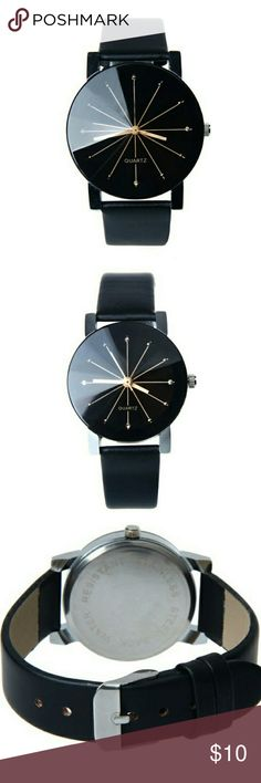 Quartz Black Unisex Minimalist Watch Ultra chic unisex black watch. Silvertone hardware. Minimalist design. The hour indicators are marked with simple gold color lines. Ships same oe next day latest. Brand new with tag. sparklingmine Accessories Watches