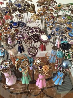 Small part of my collection...notice they are all in sterling silver overlay hatpin holders!  My favorites!