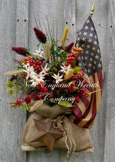 Americana Wreath Patriotic Fourth of July by NewEnglandWreath, $119.00