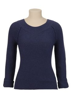 Love this sweater. It is so comfy & soft and it comes in a variety of solid colors or wide stripes. I just bought it in red.