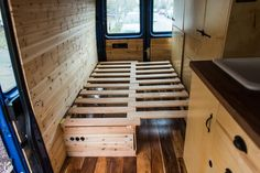 In the original design of the bed, I wanted something that could convert from a couch to a bed. Like a futon, only less college-dorm and more space conscious cabin. Palette Furniture, Pallet Furniture Designs, Diy Furniture, Diy Daybed, Diy Sofa, Rv Sofa Bed, Sleeper Sofa, Couch, Vw T5 Interior