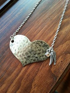 Distressed Bronze Heart Necklace with Angel by MissGawdysJewelry