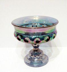 Purple Carnival Glass Compote Thumb Print Design Goblet or Planter mug #Carnival