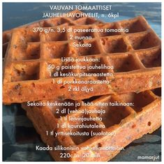 Vauvan tomaattiset jauhelihavohvelit Toddler Meals, Toddler Food, Yams, Lidl, Kids And Parenting, Baby Food Recipes, Finger Foods, Waffles, Goodies
