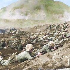the_ww2_memoirs US Marines of the 28th Marine Regiment, 5th Marine Division, try to dig in or find whatever cover than can shortly after landing under heavy fire on Iwo Jima, 19th of February, 1945. The 5th Marines took excessive casualties during the entirety of the battle but took especially heavy losses during the initial landings. This was because they landed near the base of Mt.Suribachi, which the Japanese had dug into following their Fakukku tactics, making them very easy targets and…