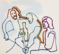 'CROSBY, STILLS AND NASH' Original colored felt tip drawing, by JONI MITCHELL 14 x 10 1/2 in. [ca.1969]