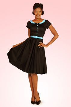 Pinup Couture - 50s Dee Dee Dress in Black with Baby Blue Trim