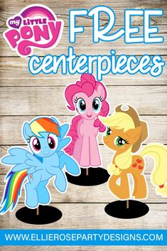 Free DIY Rainbow Dash, Apple Jack & Pinkie Pie My Little Pony Printables Talbe decoration Centerpieces.