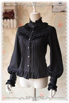 Infanta -Strong Fragrance- High Density Thick Chiffon Long Sleeves Lolita Blouse, 2 colors available: black and white. Lolita Fashion, Gothic Fashion, Hijab Fashion, Fashion Dresses, Pretty Outfits, Cool Outfits, Gothic Lolita Dress, Lolita Goth, Mode Lolita