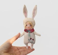 hand made doll for gift bunny artwork bunny doll ooak animal doll  ,#artwork ,#doll ,#dollmaker