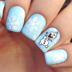 Holiday Nail Designs, Winter Nail Designs, Holiday Nails, Christmas Nails, Xmas, Olaf Nails, Snowman Nails, Disney Nails, Gel Nails