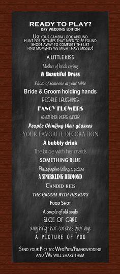 I want my guests to have some involvement in my wedding and this would be fun for the kids to do as well! Fun I SPY Wedding Reception Game #weddinggame #ispyweddinggame #wedding