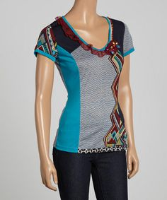 Another great find on #zulily! Teal Lace Scoop Neck Top by Farinelli #zulilyfinds