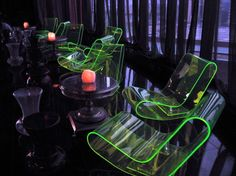 UV chairs. Elevate Nightclub. New Delhi, India. Interiors by Igloo Design.