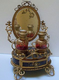 Ornate French Vanity Brass Stand with Ruby Perfumes Bottles