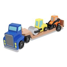 Melissa & Doug Wooden Vehicle Carrier (63 BRL) ❤ liked on Polyvore featuring multi and toys