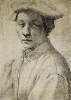 AD 1532 Portrait of Andrea Quaratesi by Michelangelo, chalk on paper (41 x 29 cm) - Ashmolean Museum, UK