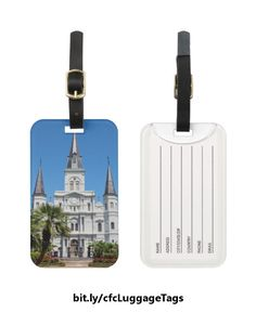 Make your suitcase distinctive with this luggage tag which features a photo of the St. Louis Cathedral on the north side of Jackson Square in the French Quarter in New Orleans, Louisiana. https://www.zazzle.com/st_louis_cathedral_name_and_address_luggage_tag-256405019324419591?rf=238083504576446517&tc=20170208_pint_SSOZ #travel #accessories #NewOrleans #photography #StudioDalio #Zazzle