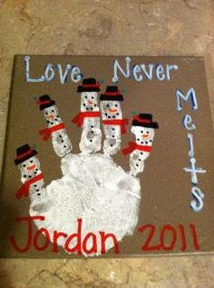 "Snowman hand print -- I have done this with my PreK class with a ""5 little snowman"" poem, but I love ""Love Never Melts"""