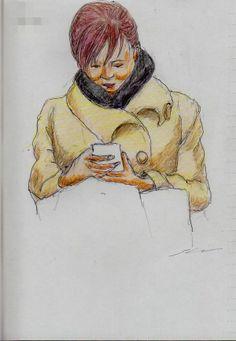 黒いマフラーのお姉さん It is a sketch of the woman of black muffler.  I drew on the train going to work.